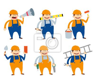 Poster Bauarbeiter und Arbeiter Karikatur illustration.worker mit Werkzeugen