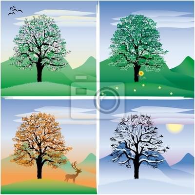 d3a79c0d38 Baum durch die vier jahreszeiten wandposter • poster Sonnenblume ...