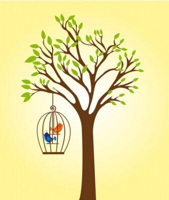Poster Baum mit Käfig