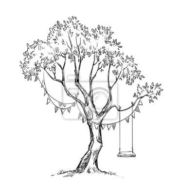 Poster Baum Und Schaukel Vektor Skizze