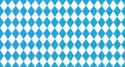 Poster Bavarian Oktoberfest seamless pattern with blue and white rhombus Flag of Bavaria Oktoberfest blue checkered background Wallpaper Vector old diamonds background with cracks and dust