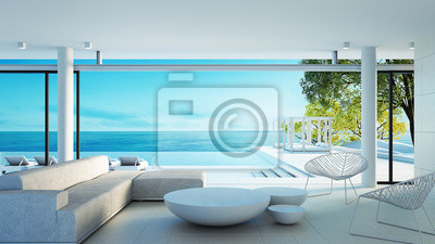 Poster Beach living on Sea view - perfect living / 3d rendering
