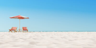Poster Beach umbrella with chairs on the sand. summer vacation concept. 3d rendering