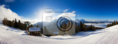 Beautiful 180 degree winter panorama in the Italian alps on a sunny day