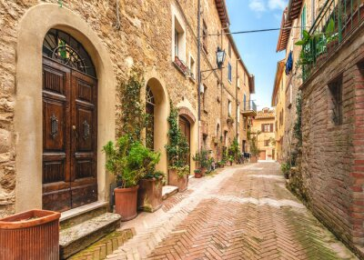 Poster Beautiful and colorful streets of the small and historic Tuscan