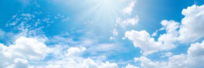 Poster Beautiful blue sky cloudsfor background. Panorama of sky.