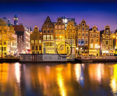 Beautiful calm night view of Amsterdam city