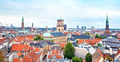 Beautiful cityscape with panoramic city views from above in Copenhagen, Denmark. Exotic amazing places. Popular tourist atraction.