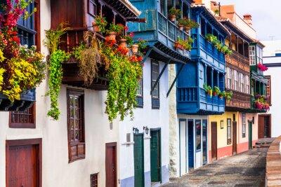 Beautiful colorful floral streets with traditional balconies of Santa Cruz de la Palma - capital of La Palma island, Canary islands of Spain