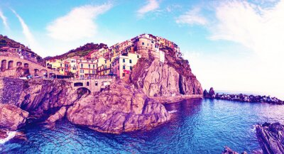 Beautiful colorful summer landscape-panorama on the coast of Manarola in Cinque Terre, Liguria, Italy, Europe