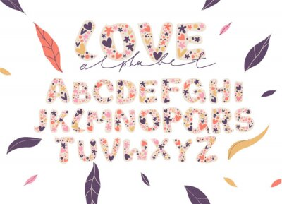 Beautiful floral alphabet. Typography with flowers. Romantic letters. Modern fashionable template for design. Vector illustration.