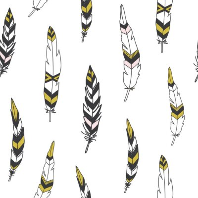 Poster Beautiful indian seamless pattern with feathers in vector.