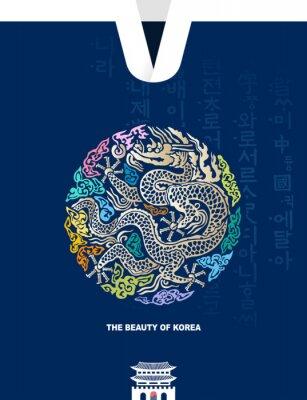 Poster Beautiful Korea. Traditional Gwanghwamun palace, Joseon royal gown, dragon pattern vector illustration. Hunminjeongeum, Korean translation.