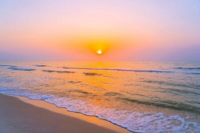 Poster Beautiful landscape outdoor sea ocean and beach at sunrise or sunset time for leisure travel and vacation