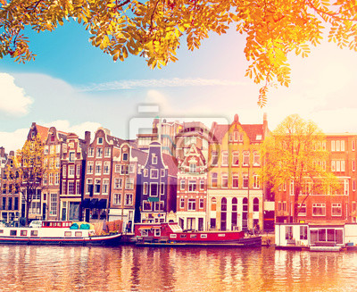 Beautiful Magic Autumn Landscape in Amsterdam, Holland. amazing places. popular tourist atraction