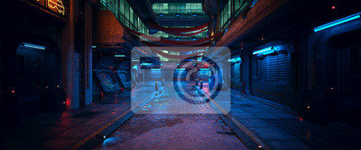 Poster Beautiful neon night in a cyberpunk city. Photorealistic 3d illustration of the futuristic city. Empty street with blue neon lights.