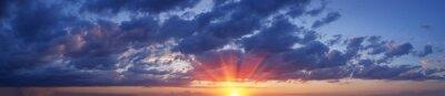 Poster beautiful panorama sky with clouds at sunset