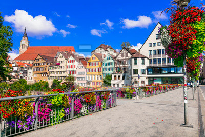 Beautiful places of Germany - colorful floral town Tubingen (Baden-wurttemberg region)