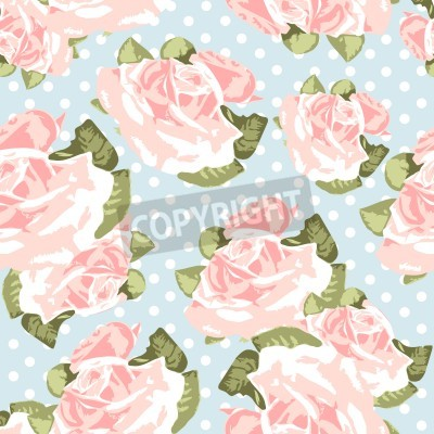 Poster Beautiful Seamless rose pattern with blue polka dot background, vector illustration