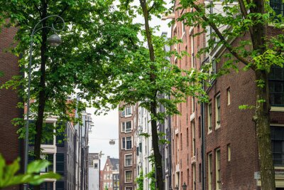 Beautiful street view of Traditional old buildings in Amsterdam,Netherlands