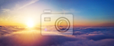 Poster Beautiful sunrise cloudy sky from aerial view