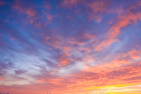 Poster Beautiful sunset clouds in pink colors. Abstract nature background