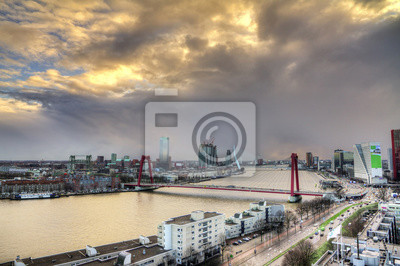Beautiful sunset view on the bridges over the river Maas (Meuse) in Rotterdam, The Netherlands