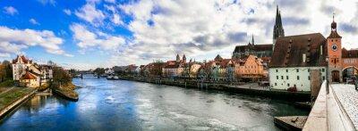 Beautiful towns of Germany - scenic medieval Regensburg over Danube river. Landmarks of Bavaria