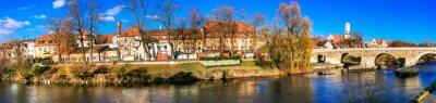Beautiful towns of Germany - scenic Regensburg over Danube river. Landmarks of Bavaria