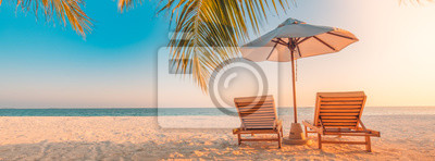 Poster Beautiful tropical beach banner. White sand and coco palms travel tourism wide panorama background concept. Amazing beach landscape