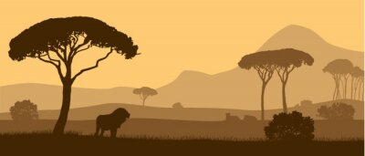 Poster Beautiful vector landscape of African savannah with animals during sunset.