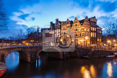 Beautiful view after sunset on the Brouwersgracht in Amsterdam, the Netherlands, a UNESCO world heritage site.