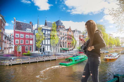 Beautiful view of Amsterdam canals