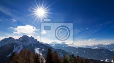 Beautiful vista over the Italian alps on a sunny day