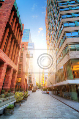 Beautiful wide angle sunrise of the office buildings in Amsterdam South, The Netherlands
