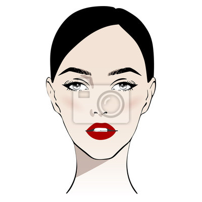 Poster Beautiful woman face with classic make-up and red lips hand drawn vector illustration. Stylish original graphics portrait with young girl model. Fashion, style, beauty. Graphic, sketch drawing.