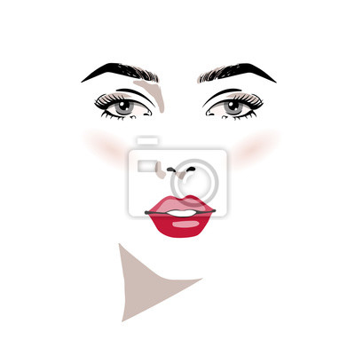 Poster Beautiful woman face with make-up hand drawn vector illustration. Stylish original graphics portrait with beautiful young attractive girl model. Fashion, style, beauty. Graphic, sketch drawing.