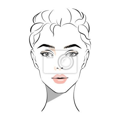 Poster Beautiful woman face with nude make-up hand drawn vector illustration. Stylish original graphics portrait with beautiful young attractive girl model. Fashion, style, beauty. Graphic, sketch drawing.