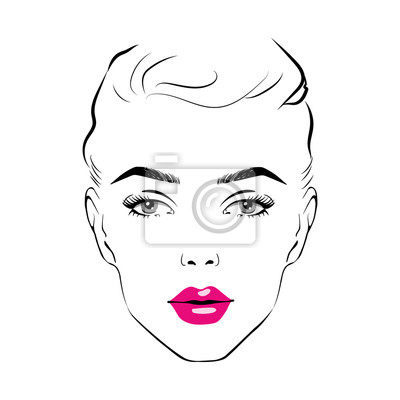 Poster Beautiful woman face with pink lipstick on lips. Fashion illustration of the sketch Elegant beautiful woman face hand drawn vector illustration eps 10