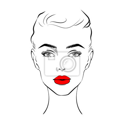 Poster Beautiful woman face with red lipstick on lips. Fashion illustration of the sketch Elegant beautiful woman face hand drawn vector illustration eps 10