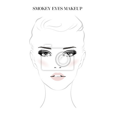 Poster Beautiful woman face with smokey eyes make-up and nude lips hand drawn vector illustration. Stylish original graphics portrait with young girl model. Fashion, style, beauty. Graphic, sketch drawing.