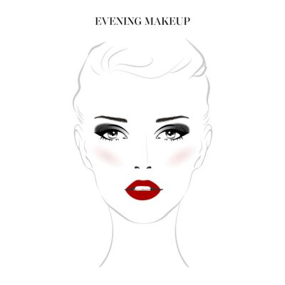 Poster Beautiful woman face with smokey eyes make-up and red lips hand drawn vector illustration. Stylish original graphics portrait with young girl model. Fashion, style, beauty. Graphic, sketch drawing.
