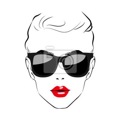 Poster Beautiful Women face with sunglasses. Art monochrome black sketching vector girl face with red lips and glass symbols with space for text. Fashion Girls Illustration