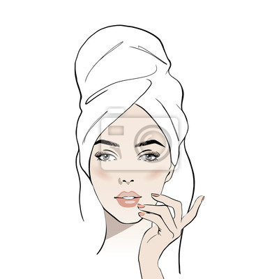 Poster Beautiful young woman face with white towel on her head. Hand drawn beautiful woman portrait. Fashion woman with bath towel on her head. Sketch. Vector illustration. Spa beauty concept