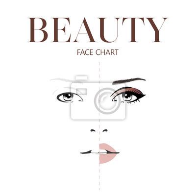 Poster Beauty face chart. Beautiful woman with open eyes. Face chart Makeup Artist Blank Template. Vector illustration.