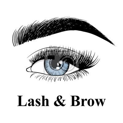 Poster Beauty Lash und Braue Studio-Logo. Typografie-Poster. Blaues Auge, Augenbraue und lange Wimpern. Vektor-Illustration für Geschenkkarte. Schwarz auf weißem Hintergrund.