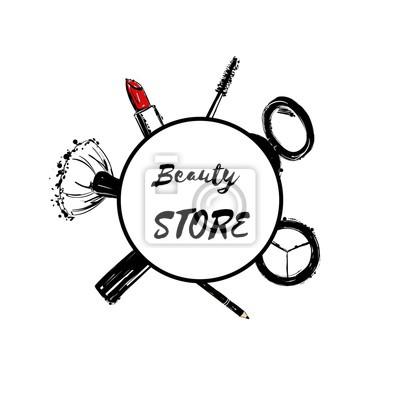 Poster Beauty-Shop Emblem mit Typ Design und Kosmetik. Hand gezeichnet Set Lippenstift, Make-up Pinsel, Eyeliner, Lidschatten, Wimperntusche. Make-up Sammlung für Kunst, Design-Werbung.