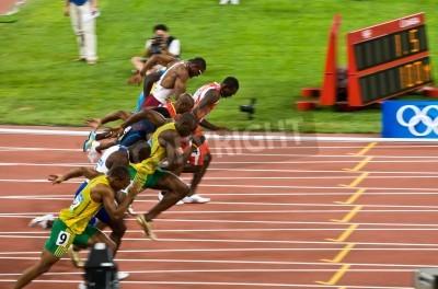 Poster Beijing, China - 16. August 2008 :, Olympics, Usain Bolt bricht weg in der 100-Meter-Rennen für Männer