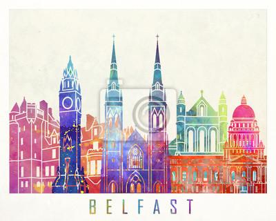 Belfast Sehenswürdigkeiten Aquarell Poster
