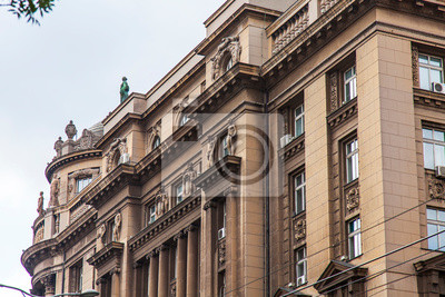 BELGRADE, SERBIA, August 3, 2019. Architectural fragment of the facade of a typical building in the historical part of the city